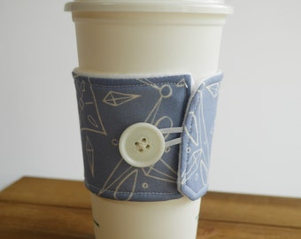 Blue Patterned Fabric Coffee Cozy, Coffee Cup Sleeve, Tea Cozy