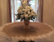 Elegant Wedding Table Cloth, Burlap and Lace Custom Order Wedding Cake Table Linens