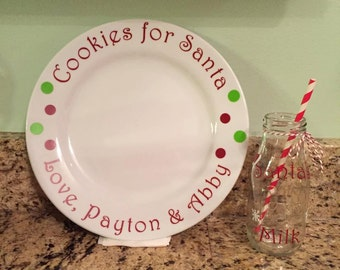 Cookies and milk for Santa, milk jug, cookie plate, personalized, christmas