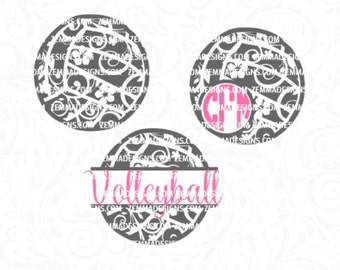 volleyball svg - volleyball monogram svg - volleyball svg file - love volleyball svg - volleyball flourish bundle - volleyball clipart