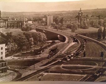 Dresden vintage german postcard, view of Dr Friedrichs' Bridge