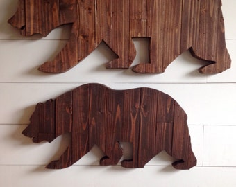 24 inches wide Repurposed wood bear - California bear sign