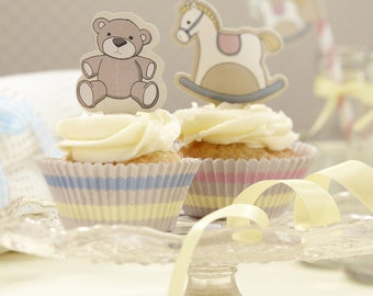 Rock A Bye Baby Cute Cupcake Cases & Toppers Kit - Shower Supplies Tableware