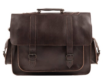 LEATHER BRIEFCASE - Leather Messenger Bag - 17 inch laptop bag - Leather Brieface - Office Briefcase in Dark Brown color