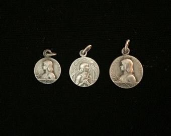 antique french joan of arc - gods warrrior- medal trio