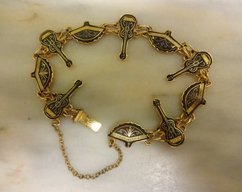Vintage Spanish Damascene Gold Plated & Black Enamel Bracelet, Guitars, Fans