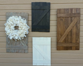 Mini Barn door - rustic decor - wall hanging - weathered wood - rustic home decor - rustic wedding - wood shutters - wedding centerpiece