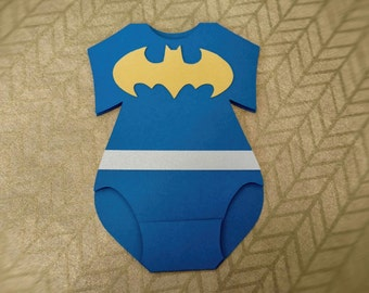 Batman Onesie Invitation Set, Baby Shower, Invitations, Custom, Made to Order, Superhero, Baby Boy, Baby Girl, Personalized, one of a kind