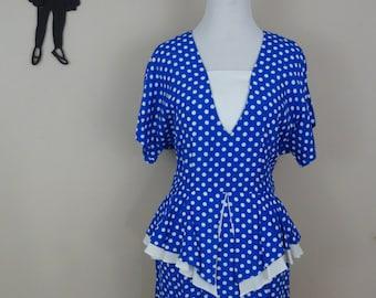 Vintage 80's Does 50's Dress / 80s Polka Dot Peplum Dress M