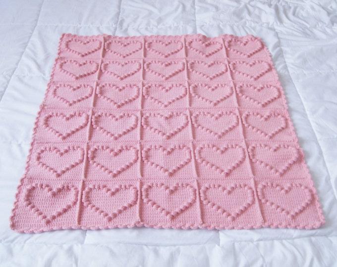 Crochet Baby Blanket, Pink Heart Baby Blanket, travel stroller size, Car seat Blanket, Crib Blanket