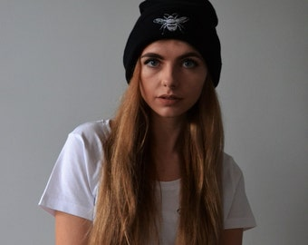 Embroidered bee beanie
