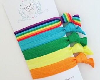 Rainbow Crease Free Hair Ties/ Hairbands. Fold Over Elastic Hair Ties set of 5