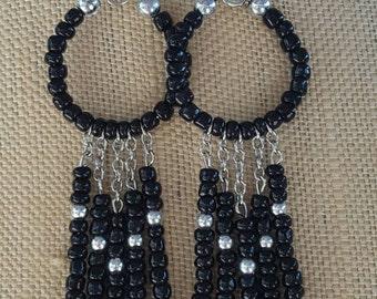 Black and Silver Seed Bead Dangle Earrings