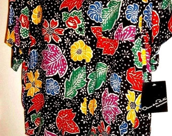 SALE New Vintage Oscar De La Renta Skirt Suit Sz L, Oscar De La Renta Suit Floral on Black, Rayon, Multi-Color Skirtsuit with  Short Sleeves
