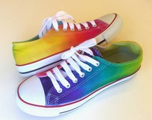 Tie Dye converse low top, Tie Dye Rainbow colors, Unisex Casual Sneackers, Ombre Hand painted wedding shoes, birthday party gift, casual