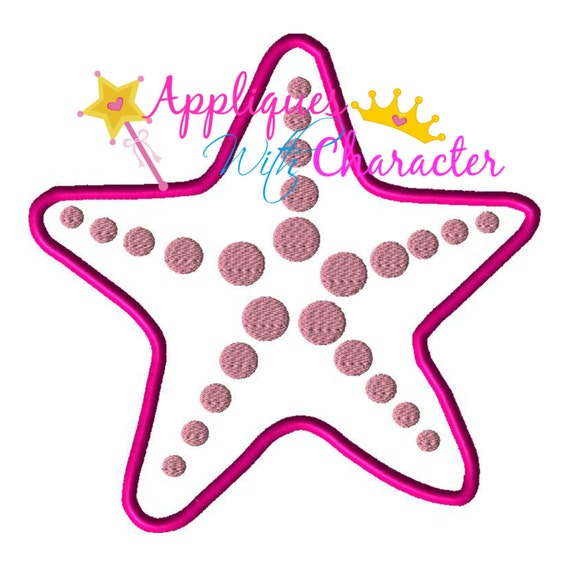 Beach theme starfish applique embroidery by for Beach house embroidery design