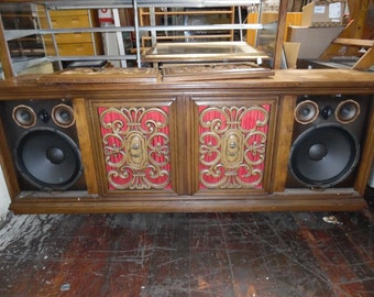 Vintage Solid-Wood Stereo Console with Technics Stereo Receiver Model SA-350