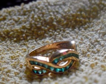 Vintage Sterling Silver Gold Vermiel Teal Green CZ Band Ring Size 5