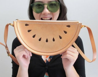 Watermelon Cross Body Bag / Watermelon Veg Tan Leather Spring Purse / Hand Stitched Shoulder Bag / Handmade Women's Bag