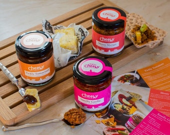 Indian food gift - Spicy chutneys and pickles hamper - Christmas gifts for dad - Gift for spice lover - Gluten free gift - Gift for granddad