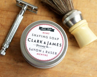 SHAVE KIT mens shaving soap set with horse hair shave brush, razor and soap in waxed kit bag