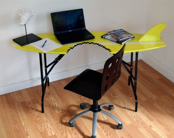 Surfboard Desk - shark bite - folding legs  Mid Century Furniture Design