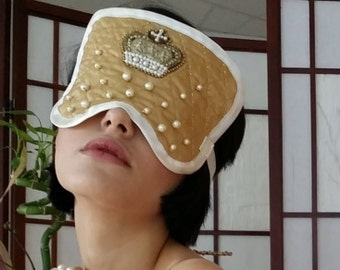 Bride Jewel, Mask, quilted with Beads and Italian Gold Embroidered Application, Luxury for a Versaille Queen, blindfold.Handmade with love.G