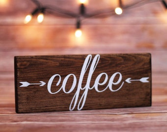 Coffee sign with arrows, Coffee art, Rustic home decor, Wood signs, Coffee wood sign, Kitchen wall art, Office decor
