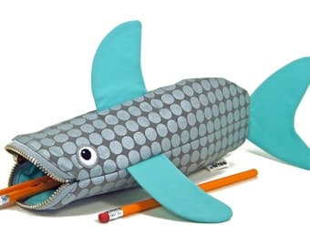 Shark Pencil Case - Planner Pouch - Kids Back to School Bag - Animal Purse - Bag for Kids - Desk Organizer - Scuba Gift - Ready to Ship