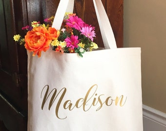 Personalized Tote Bag - Gifts for Bridesmaids - Personalized Bridesmaid Gift - Bridal Party Tote Bag - Personalize My World Boutique