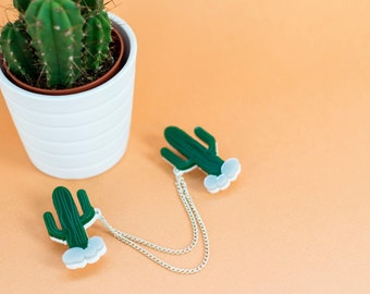 Cactus Collar clips - Western collar clips - Cactus Gift - Collar clips - Cactus Jewellery - Statement jewellery  - saguaro jewelry
