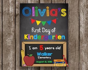 First Day of School Sign - Chalkboard - CUSTOM - Editable - Kindergarten - Preschool - Any Grade - Personalized