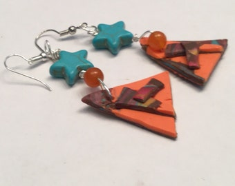 Large Orange Triangle Polymer Clay Pierced Earrings