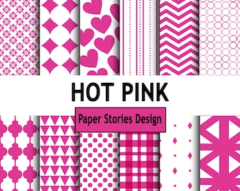 HOT PINK, pink, white, Commercial Use, Personal Use, Digital, Printable, Instant Download, jpeg, Scrapbook Paper, Pattern Paper, Paper Pack