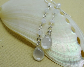 Moonstone drop earrings,  silver dangles,  delicate earrings,  Just for her, unique present, ladies Graduation gift, handmade gift