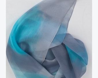 Hand painted silk chiffon scarf. Aqua grey scarf in abstract mood. Long scarves. Handpainted scarves. Pastel, blue scarf. Birthday gift mom.