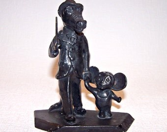 CHEBURASHKA and Gena The Crocodile. Vintage Soviet Figurine. Famous Russian Cartoon Heroes. Nursery Room Decor.