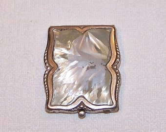 Vintage Powder Compact. Retro Soviet Mirrored Compact. Steel Refillable Powder Box with a Mirror. Vanity Mirror. Collectible. Gift for Her.