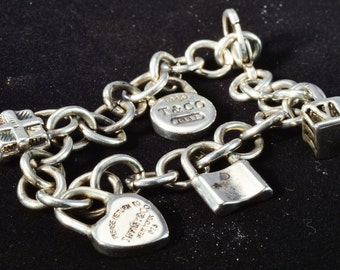 """Tiffany & Co .925 Sterling Silver Charm Bracelet with 5 Tiffany Charms 7"""" long"""