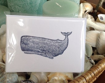 Whale Cards, Set Of Six, Coastal Cards,Nautical Cards, note cards, whales,cape cod cards