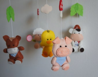 Mobile animals farm pig, sheep, donkey, duck and cow felt handmade