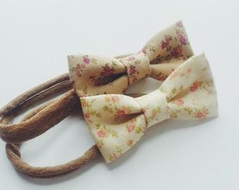 Vintage Floral Bows - Set of 2 // Nylon Headband -OR- Alligator Clip //