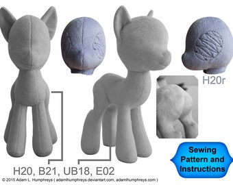 Pony Mare Plushie Sewing Pattern 21 Minky Stuffed Plush Animal Template