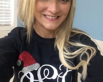 Christmas long sleeve shirt/ Santa hat monogram