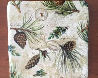 Pine Cone Design Decorative Tile Coasters