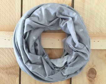 Nursing Scarf Gray Arrows, Infinity Scarf Grey, Breastfeeding Cover Up Boho Arrows Nursing Shawl Apron