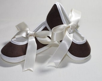 Baby Brown Shoes  Baby Shoes Christening  Baptism  Wedding Ready to ship