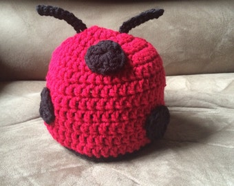 Baby lady bug crochet hat size 3-6 months