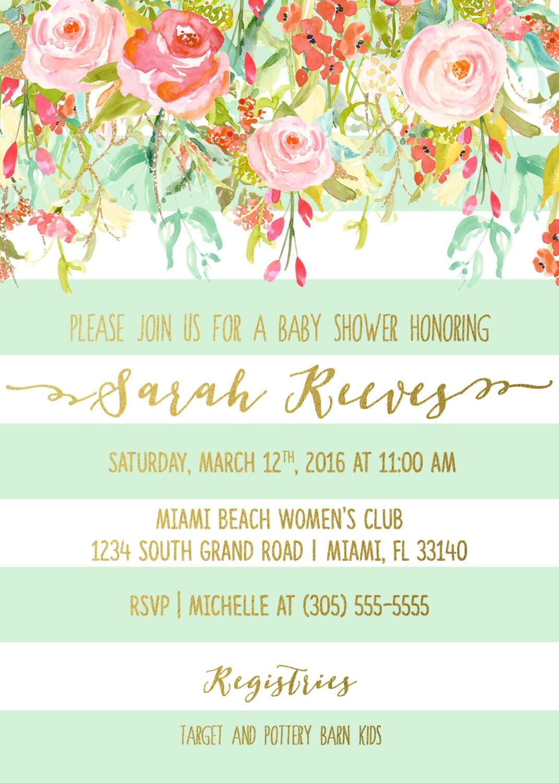 Floral Baby Shower Invitation Girl, Boho Baby Shower Invite, Spring ...