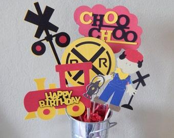 Train Centerpiece, Choo Choo Train Party Centerpiece, Train Happy Birthday Centerpiece, Red and Yellow Train Party, Railroad Crossing